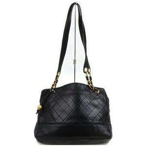Auth Chanel Shoulder Bag Black Leather #5462C36